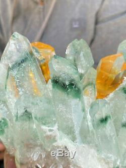 925g Grand Vert Clair Fantôme De Cristal De Quartz Grappe De Guérison Minérale Des Échantillons