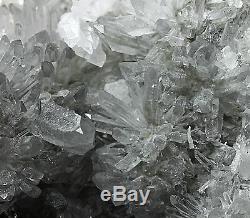 945g Effacer Naturel Beau Chrysanthème Blanc Cristal Quartz Cluster Spécimen