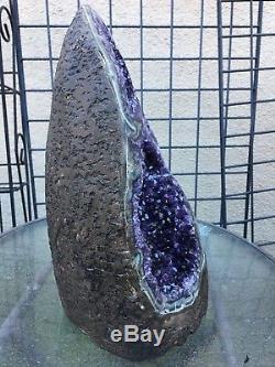 Agate De Cristal De Quartz À Grappes D'améthyste D'uruguay Pourpre Profond