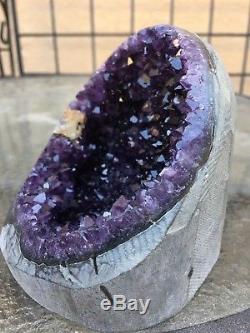 Agate De Cristal De Quartz À Grappes De Géode Améthyste Uruguayenne Pourpre