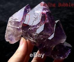 Améthyste Squelettique Naturel Enhydro Quartz Crystal Cluster Spécimen De Guérison 370g
