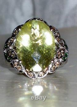 Anneau De Quartz Au Citron Levian, Diamants Chocolat Et Garnets De Tsavorite 14 K, Blanc