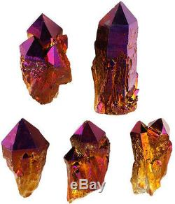 Aura Quartz Crystal Point Cluster Titanium Geode Blue Gold Natural Super Large