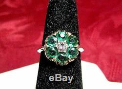Bague Élégante En Cristal Vert Avec Une Fleur Vintage En Or Jaune 10k Pour Dame, Taille 5