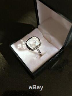 Bague Estate Vintage En Argent Sterling 925 Avec Diamant Noir Et Quartz Blanc, Unique