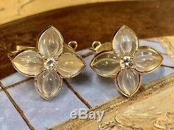 Boucheron Boucles D'oreilles Diamant Cristal De Roche En Or Jaune 18k