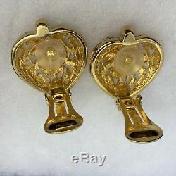 Boucles D'oreilles Coeur Christian Dior Rouge Rubis Cristal Goldtone Finition Vintage Designer