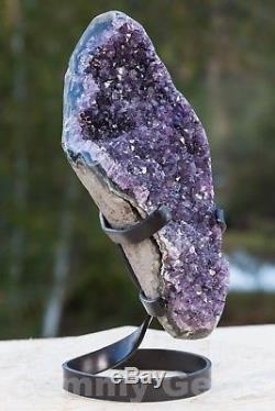 C0540 4.36lbs Grande Grappe De Cristal De Quartz De Geode D'améthyste Sur La Colonne De Support