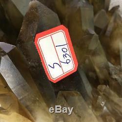 Cicatrisant Au Cristal Pour Échantillon De Grappes De Quartz Citrine Naturel Fumé 10.45lb S6301-4