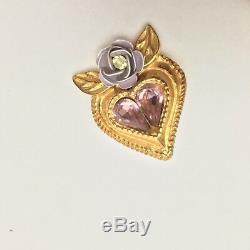 Clip Christian Vintage Lacroix Doré Coeur Violet Cristal Floral Sur Boucles D'oreilles