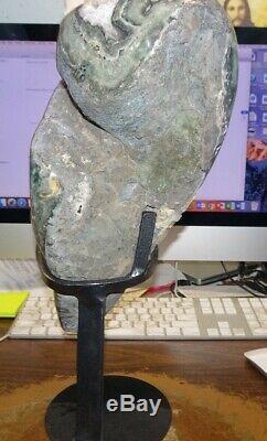 Cristal Amethyste Cluster Cathédrale Geode F / Uruguay Stalactites Stand Acier