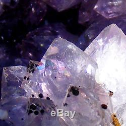 Cristal De Quartz Améthyste Sombre Grosse Grotte Cluster Géode Naturelle Uruguay 1114g 13cm