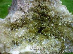 Cristal De Quartz Aura Vert Pomme Minuscule Cluster Large Traité 3.625 KG