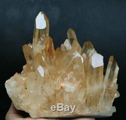 Effacer 3.95lb Rose Naturel Cristal De Quartz Grappe Point De Guérison Minérale Des Échantillons