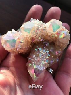 Esprit Quartz Cristal Ange Aura Cluster Arc-en-ciel Opale Aura Sud-africain A12
