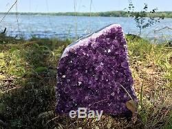 Extra Extra Large Poli Améthyste Druze Cristal Cluster Avec Coupe Des Échantillons De Base