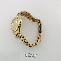 Geneve White Diamond Hour Marker 14k Femmes Quartz Or Jaune Montre Italie 6.5