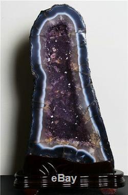 Grand 39 Pouces Cathédrale Du Brésil Noir Améthyste Cristal Geode Cluster Poli