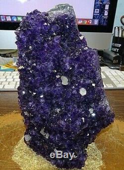 Grand Améthyste Cristal Cluster Géode De L'uruguay Cathédrale Calcite
