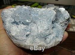 Grand Célestite Naturel Geode Cluster Quartz Crystal Healing Stand Madagascar