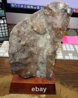 Grand Citrine Cristal Cluster Geode Brésil Cathédrale De Bois Stand