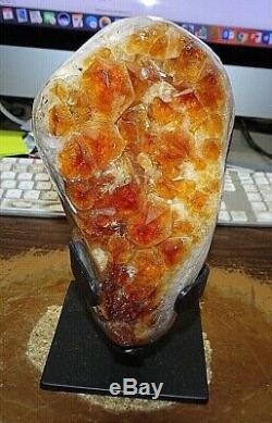 Grand Citrine Cristal Cluster Geode F / Cathédrale Brésil Acier Stand