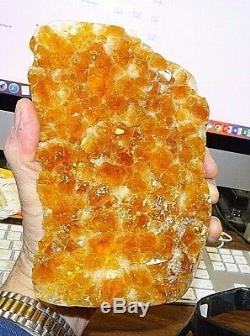 Grand Citrine Crystal Cluster Cathédrale Geode Brésil Stand En Acier Poli