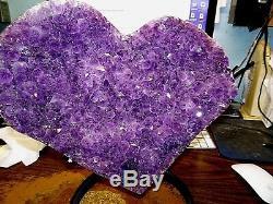 Grand Coeur En Cristal D'améthyste Geode F / Support En Acier De La Cathédrale Du Brésil