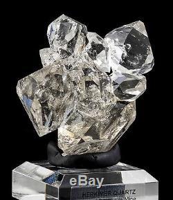 Grand Spécimen De Minéraux Fins De Cristaux De Grappe De Quartz De 8 Diamants D'herkimer