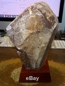 Grand Support En Bois De La Cathédrale Geode F / Brazil Cathedral Cluster Crystal