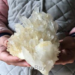 Guérison De Spécimen Approximatif De Groupe De Cristal Blanc Clair Naturel De 4,0lb En Cristal De Quartz