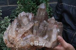Haut! Spécimen De Point En Grappe De Cristal Fantôme De Fantôme Naturel Clair De 24,2 Lb