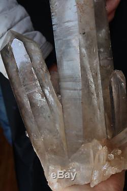 Haut! Spécimen De Pointe En Grappes De Cristaux De Quartz Naturel Clair De 14,5 Lb & Brésil