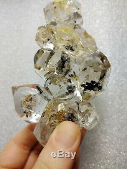 Herkimer Diamant Grand Groupe Métaphysique Cristal De Nice Plaques Noires Claires