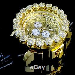 Hommes Khronos Finition Or Jaune Vrai Diamant Joe Rodeo Cluster Bezel Iced Montre