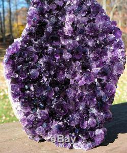 Juicy Uruguayan Uruguay Cluster Crystal Améthyste Avec Base Coupée