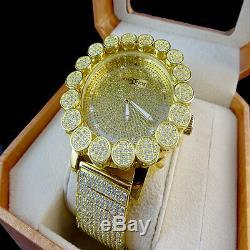 Khronos Canary Dorées Vrai Diamant Joe Rodeo Jaune Tone Cluster Bezel Montre