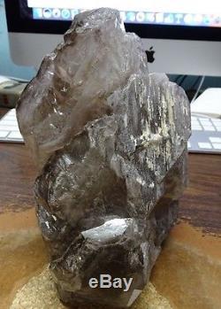 Lg. Cluster De Cristal À Quartz Fumé Geode From Brazil Lampadaire De Cathédrale