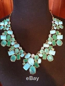 Magnifique Collier Déclaration De Bavoir Fiesta Cluster Kate Spade Turquoise Nouveau