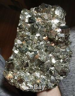 Magnifique Spécimen De Grappe De Cristaux De Pyrite De Fer, 12.42lbs Pérou. L'or Des Fous! XXL