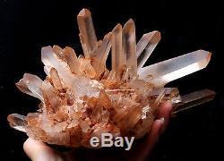 Naturel Rare Belle Peau Rouge Quartz Cluster Cristal Spécimen Tibétain 4.51lb