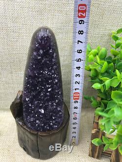 Naturel Uruguay Deep Purple Cristal Quartz Améthyste Geode Clusters + Stand A34