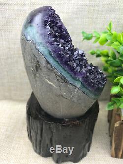 Naturel Uruguay Deep Purple Cristal Quartz Améthyste Geode Clusters + Stand A35