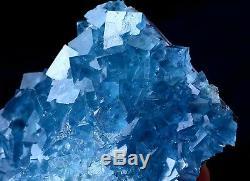 Nouveau Trouver Transparent Cube Bleu Fluorite Cristal Cluster Minéral Spécimen 561g