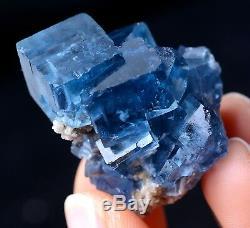 Nouveau Trouver Transparent Cube Bleu Fluorite Crystal Cluster Mineral Specimen 24.03g