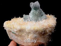 Nouveau Trouver Vert. Guérison De Spécimen Minéral De Grappe De Cristal De Quartz Fantôme Jaune