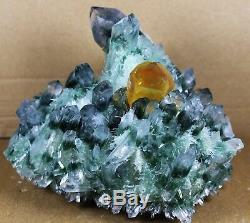 Nouveau Trouver Vert Jaune Phantom Quartz Cluster Minérale Des Échantillons De Guérison