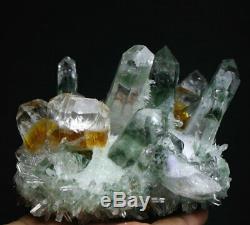 Nouvelle Recher Vert / Jaune Phantom Cristal De Quartz Cluster Minéral Spécimen 660g