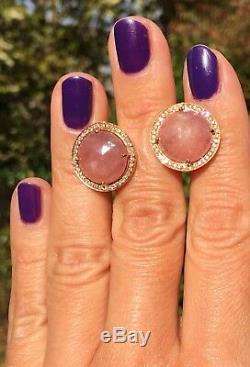 Or Rose 18 Carats Diamant Rose Quartz Rose Rond London Bijoutiers Boucles D'oreilles Signées