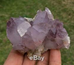 Phantom Amethyst Quartz Cluster Red Hematite Inclusions Purple Heart